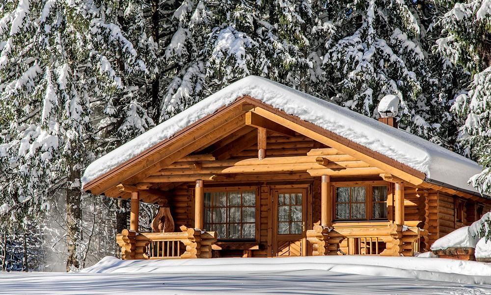 дом из оцелендрованного бревна зимой